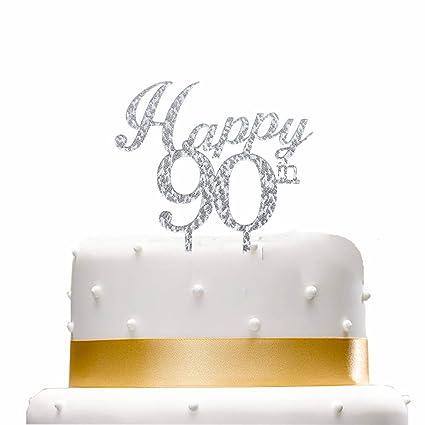 Amazon Happy 90th Cake TopperSilver Birthday Party