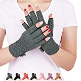 Arthritis Compression Gloves Men Women Relieve Pain from Rheumatoid, RSI, Carpal Tunnel, Hand Gloves Fingerless for Computer Typing and Dailywork, Support for Hands and Joints by DISUPPO (Gray, Small)