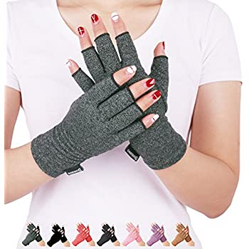 Arthritis Compression Gloves Fitness Gloves Relieve Pain from Rheumatoid, RSI,Carpal Tunnel, Hand Gloves Fingerless for Computer Typing and Dailywork, Support for Hands and Joints (Gray, Large)