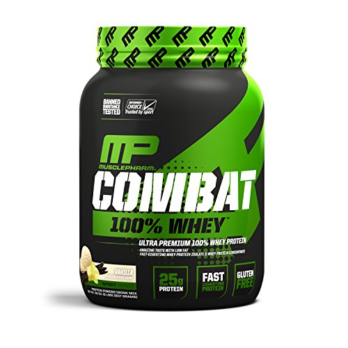 - MusclePharm Combat 100% Whey, Muscle-Building Whey Protein Powder, 25 g of Ultra-Premium, Gluten-Free, Low-Fat Blend of Fast-Digesting Whey Protein, Vanilla, 2-Pound, 29 Servings