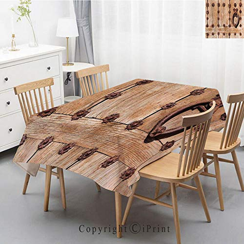 Print Series Rectangle Tablecloth Cotton and Linen Dust proof Absorption Table Cover for Photography Background Dining,55x87 Inch,Rustic,Spanish Entrance of Rusty Medieval Style Handlers Archway Facad