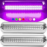 HUSUKU SOOP3 PRO Purple 2000LM 60LED Waterproof Stainless Steel Trim Ring Boat High-Intensity LED Underwater L