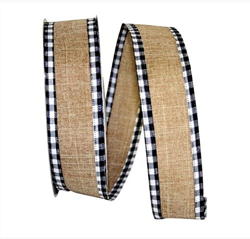 Wire Edged Linen Checked Tan Black and White Edge Ribbon 1 1/2