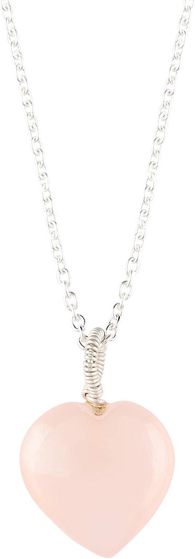 OOAK by Virat Collar de piedras preciosas de corazón de cuarzo de ónix rosa natural, colgante elegante para mujer, plata de ley 925 de 18