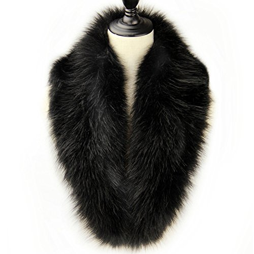 Dikoaina Extra Large Women's Faux Fur Collar for Winter Coat, Black, 100cm ()