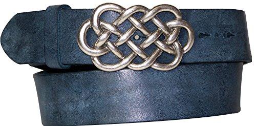 FRONHOFER belt 1.57' 4 cm | celtic knot buckle | genuine organic leather 17552, Size:waist size 37.5 inch L EU 95 cm;Color:Denim