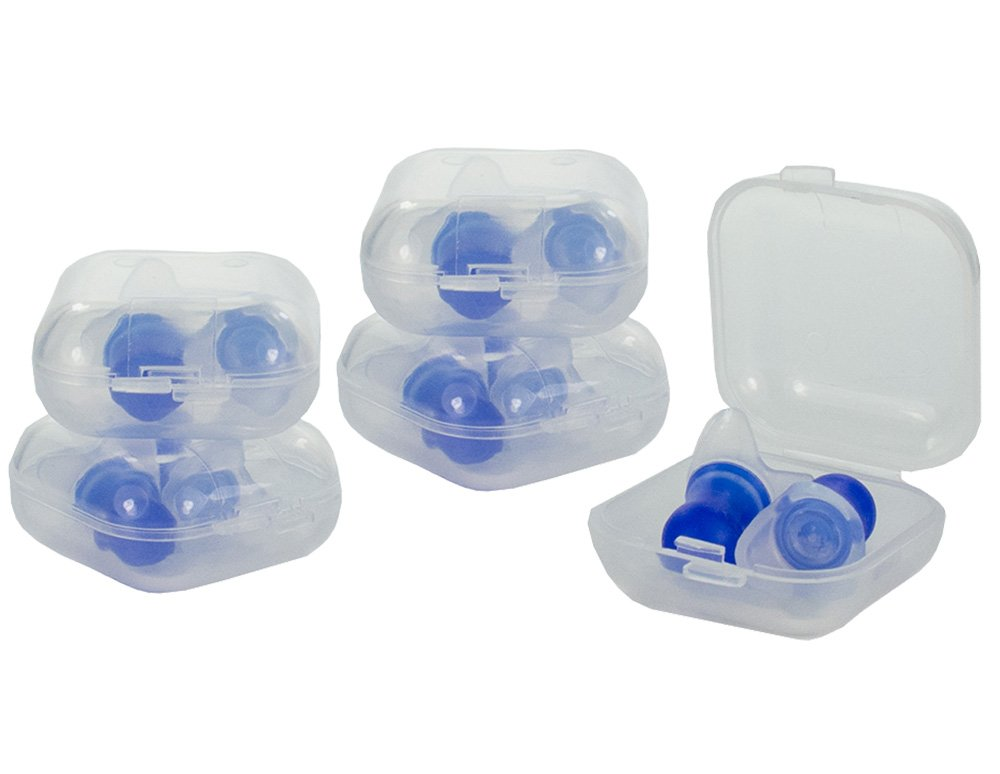 5 Pair Gms Pressure Reducing Flitemate Silicone Ear Plugs with 5 Carrying Cases Hearing Protection