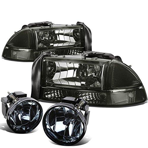 - For Dodge Dakota/Durango 4pcs Pair of Smoked Lens Clear Corner Headlights + Smoked Lens Fog Lights