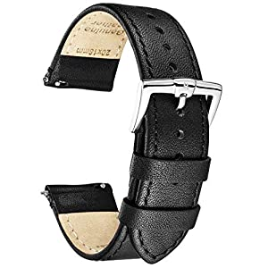 B&E Quick Release Watch Bands Top Grain Genuine Leather Watch Strap Smooth Bracelet for Men & Women – 16mm 18mm 19mm 20mm 22mm 24mm