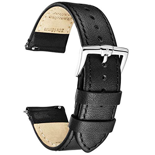 B&E Quick Release Watch Bands Strap Top Smooth Genuine Leather for Men & Women - Lite Vintage Style Wristbands for Traditional & Smart Watch - 16mm 18mm 20mm 22mm 24mm Width Available - BKBK22