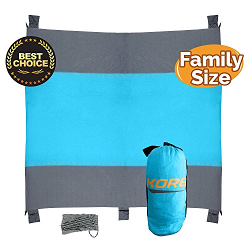 Kore Beach Blanket, Family Size 10 x9 , 5 Sand Pockets 4 Anchor Loops Stakes, Made with Durable 100 Nylon Water Proof, Lightweight, Portable Mat -Durable,Completely Sand Proof