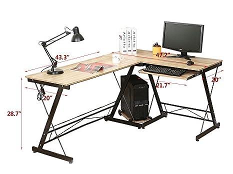 AHHC Eckschreibtisch Schreibtisch Computertisch Bürotisch Holz 161 * 120 *  73CM (Gelb)