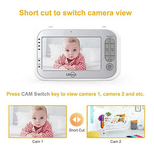 """517JQ4UV1GL - LBtech Video Baby Monitor With Two Cameras And 4.3"""" LCD,Auto Night Vision,Two-Way Talkback,Temperature Detection,Power Saving/Vox,Zoom In,Support Multi Camera"""