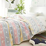 Dinosaur Toddler Boys Throw Blanket Bed Coverlet, 6 Layer 100% Hypoallergenic Cotton Cozy Soft Bed Blankets Gift (8, Twin 54'' X 71'')
