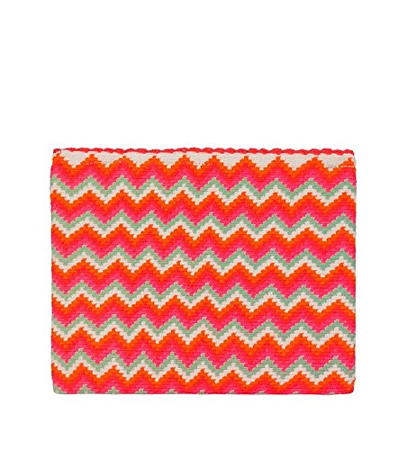 Sophie Anderson Lia Pink Chevron Striped Cotton Clutch by Sophie Anderson