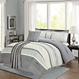 Sweet Home Collection 6 Piece Down Alternative Decorative Fashion Comforter Set,Gray/Light Gray,King