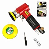 2'' 3'' Mini Air Sander Kit Pad Eccentric Professional Dual Orbital Action Pneumatic Polishing Tool for iron, wood, plastic, metal, rubber, stone, marble grinding, polishing Red