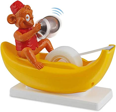 Amazeko Clapping Monkey Tape Dispenser with Cymbals, Fun Animal Desk Decor, 1 in Core, Non-Slip Weighted Banana