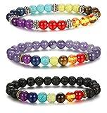 FIBO STEEL 1-4 Pcs Chakra Beads Bracelet for Men Women Lava Rock Stone Energy Healing Bracelet Elastic