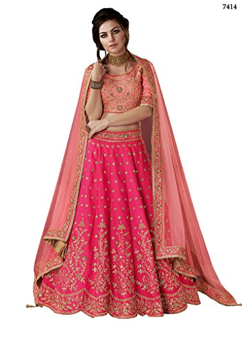 Ethnicwear Classy Beautiful Dual Tone Silk Peach Pink Traditional Zari Resham Embroidery Stone Work Wedding Bridal Lehenga Choli ()