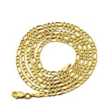 LoveBling 10K Yellow Gold Solid Figaro Chain Necklace, Available in 2mm to 6.5mm, 16'' to 30'' (2.5mm, 20'')