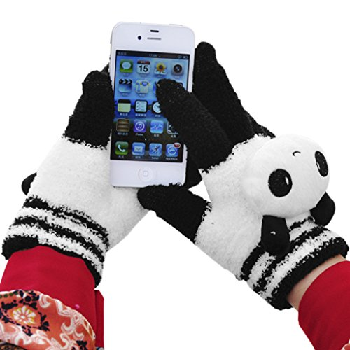 Cute Cartoon Animal Touchscreen Gloves Thick Smart Texting Mittens Winter Warm Cozy Full Finger knitted Gloves for Outdoor Activities Women Girls