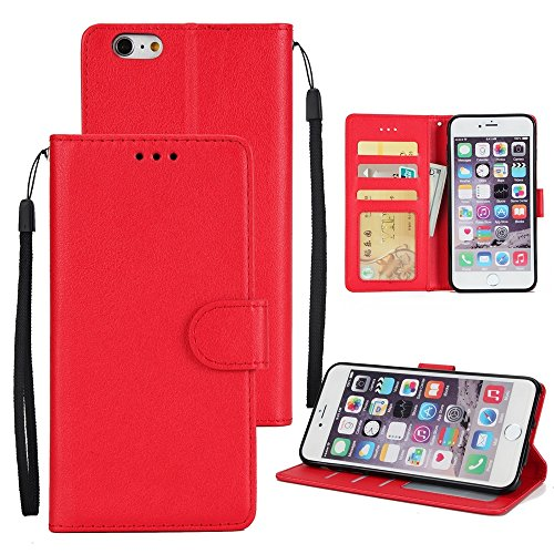 JIALUN-carcasa de telefono Clásico vendido color PU funda de cuero bolsa, Bookstyle Folio stand cartera con ranuras para tarjetas y cordón para el iPhone 6 y 6s ( Color : Darkblue ) Red
