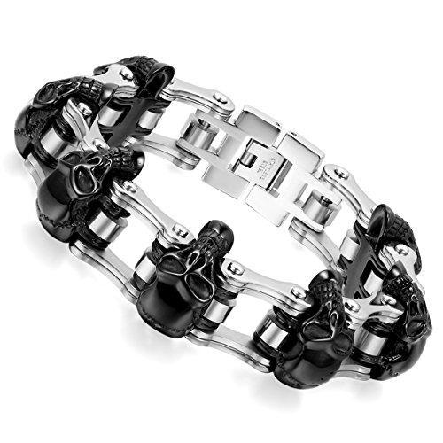 skull bracelet chain punk men jewelry - 2