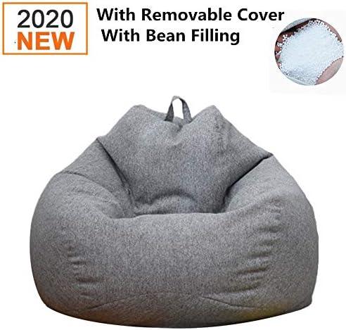 DankeSh Bean Bag Chair, Big Comfy Bean Bag Chair with Removable Cover Memory Foam Bean Bag Sofa Furniture Deep Gray, 31x35inch