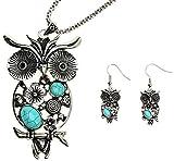 Lova Jewelry Turquoise Owl Design Silver Tone Bohemian Metal Necklace Earrings Set