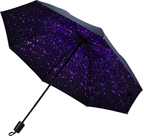 Moon Market Compact Travel Umbrella with Windproof Lightweight UV Protection (Lantern Moon Baskets)