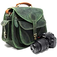 PURPLE RELIC: Rustic Leather Camera Bag ~ Cross body Shoulder Bag ~ Fits Compact DSLR with Lens for Nikon D3200, Canon 1200D, Sony A7