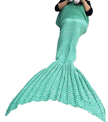 LAGHCAT Mermaid Tail Blanket Crochet Mermaid Blanket for Kids, Soft All Seasons Sleeping Bag Blankets, Whale Tail Pattern (56 x 28 Inch, Green)