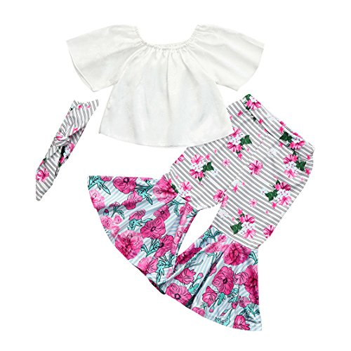 ZHANGVIP 2018 New 2Pcs Toddler Baby Kids Girls Solid Off Shoulder Tops+Floral Pants Set Outfits (4T, White II)