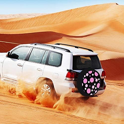 SUVタイヤカバー スペアタイヤカバー ピンクの水玉 タイヤ収納 カー用品 背面カバー 保管カバーパークレザー 雨よけカバー 背面スペアカバー 軽自動車 適用車 防水 簡単装着 車用15inch 17inch