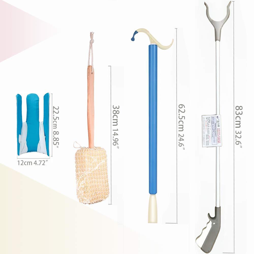 Wefaner,4-Piece Set,Socks Slider,Multi-Function Shoehorn and Dressing Assistant,Long Curved Handle Sponge Body Bath Brush,360° Rotatable Picker