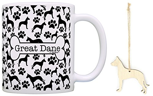 Great Dane Christmas Ornament & Great Dane Coffee Mug Tea Cup Bundle Dog Lover Stocking Stuffer ()