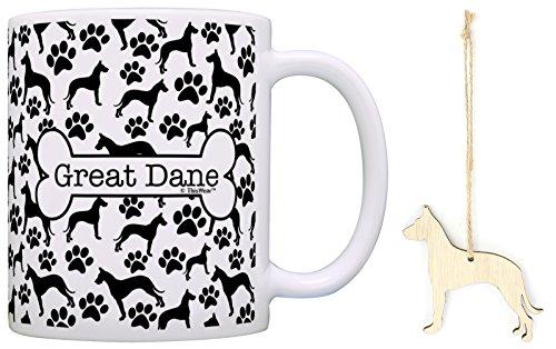 Great Dane Christmas Ornament & Great Dane Coffee Mug Tea Cup Bundle Dog Lover Stocking Stuffer