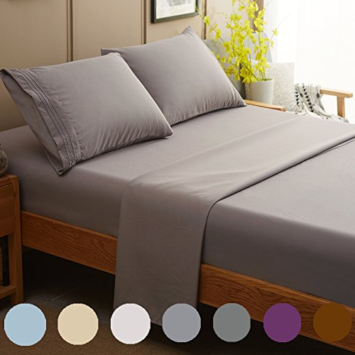 SONORO KATE Bed Sheet Set Super Soft Microfiber 1800 Thread Count Luxury Egyptian Sheets Fit 18 - 24 Inch Deep Pocket Mattress Wrinkle and Hypoallergenic-4 Piece (Grey