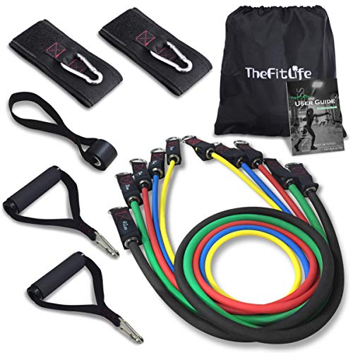 TheFitLife Exercise Resistance Bands with Handles - 5 Fitness Workout Bands Stackable up to 110 lbs, Training Tubes with Large Handles, Ankle Straps, Door Anchor Attachment, Carry Bag and Bonus eBook