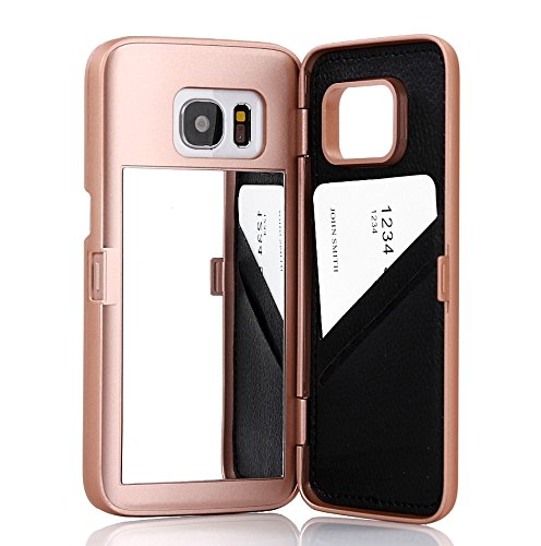 Galaxy S7 Case,Wetben Hidden Back Mirror Wallet Case with Stand Feature and Card Holder for Samsung Galaxy S7 G930 (Rose - Mirror Card Gold