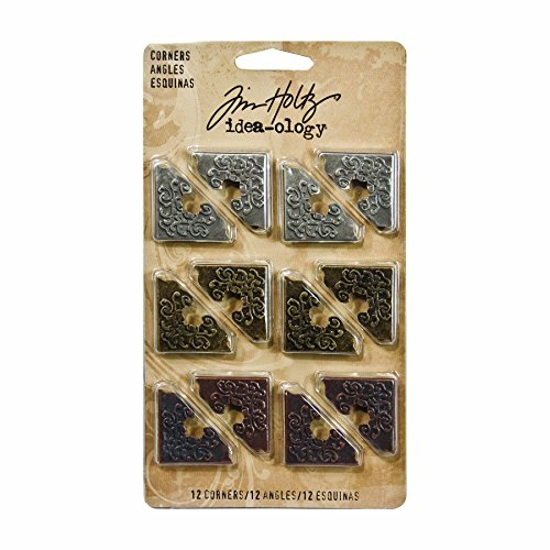 Scrapbooking Brads Metal (Metal Corners by Tim Holtz Idea-ology, 12 per pack, 1 Inch, Antique Finishes, TH92789)