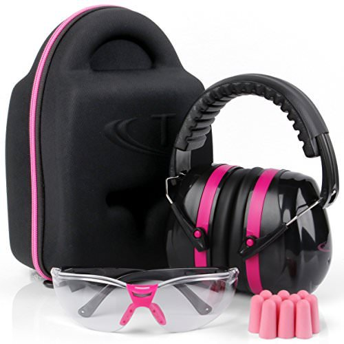 TRADESMART Pink Ear Muffs, Earplugs and Clear Gun Safety Glasses - UV400 and Anti Fog Eye Protection | Combined NRR38 Ear Muffs for Shooting, Construction, Industrial, Hunting & More
