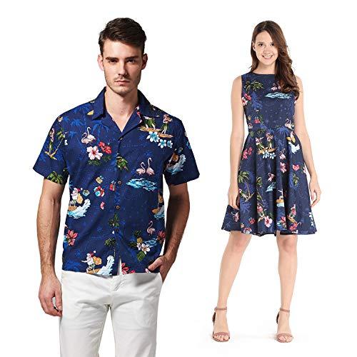 Mens Santa Outfit (Couple Matching Hawaiian Luau Cruise Outfit Shirt Vintage Dress Christmas Santa in Hawaii Navy Men XL Women)