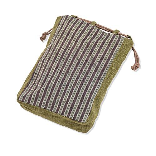 wasuian Men's Cotton Cloth Bag Tangier Stripe One Size Brown-Thin -