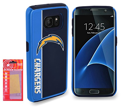 (Galaxy S7 NFL Licensed Dual Layer Shock Absorbing Impact Resist Protective Cover Case with Kaede® [Screen Guard] Protector -San Diego Chargers- For Samsung (Galaxy S7) Only)