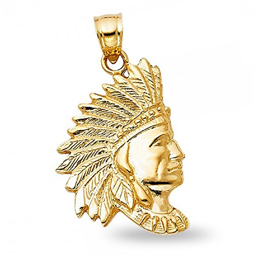 14k Yellow Gold Indian Pendant Native Amercian Chief Charm Solid Polished Unique 23 x 16 mm