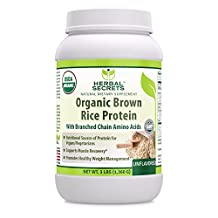 Herbal Secrets Organic Brown Rice Protein Powder- Unflavored - 3 Lbs