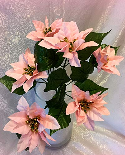New1 bunch of 6 Mini Pink Poinsettias Silk Wedding Beautiful Decorating Flowers Centerpiece Bouquet Christmas Bush - Perfect for any Wedding, Special Occasion or Home Office ()