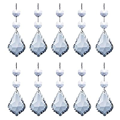 MISHIN Clear Crystal Maple Leaf Shaped Pendants with Octagon Beads Chandelier Prisms Hanging Drops Ceiling Light Decorations Parts,3.9 Inch,Pack of 10